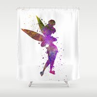 tinker bell Shower Curtains featuring Tinker bell in watercolor by Paulrommer