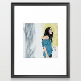A in blue Framed Art Print