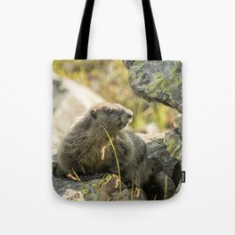 Marmot on Naches Peak Tote Bag