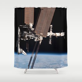 Endeavour docked to ISS Shower Curtain