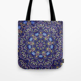 Nine sided ornament in blue with swirly things and such Tote Bag