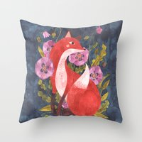 oana befort Throw Pillows featuring FOX & FLORA by Oana Befort