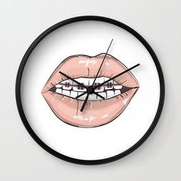 Lips vs braces Wall Clock