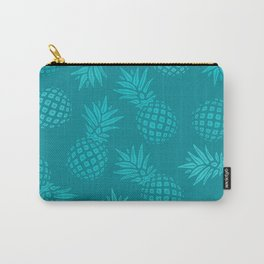 Pineapple Pattern - Teal on Teal Carry-All Pouch