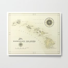 Hawaiian Islands [vintage inspired] map print Metal Print