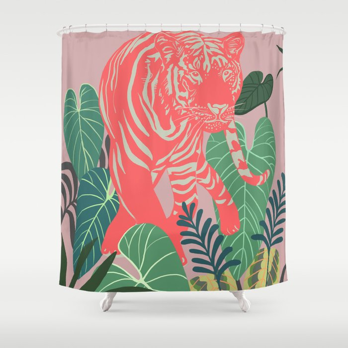 Aloha Tiger Print Animal Jungle Shower Curtain