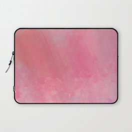 Coral girly pink watercolor clouds brushstrokes Laptop Sleeve
