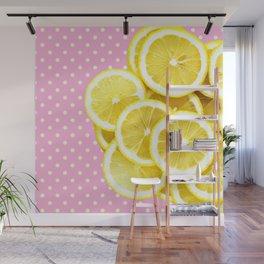 Candy Pink and Lemon Polka Dots Wall Mural