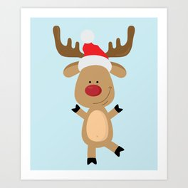 Dancing Rudolph Red Nosed Reindeer Merry Christmas Art Print