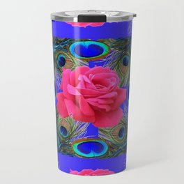 CONTEMPORARY PINK ROSES & PEACOCK FEATHERS BLUE ART Travel Mug