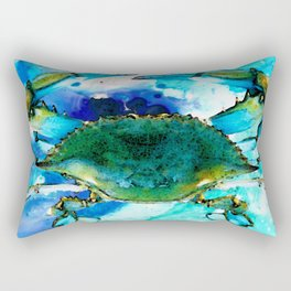 Blue Crab - Abstract Seafood Painting Rectangular Pillow
