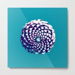 pine cone in aqua, purple and indigo Metal Print