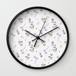 Lavender and Brown Spring Floral Print Wall Clock