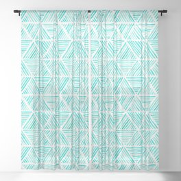 Aquamarine Watercolor Triangular Pattern Sheer Curtain