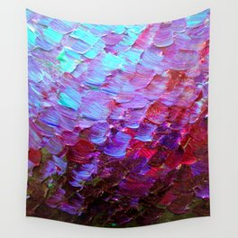 MERMAID SCALES - Colorful Ombre Abstract Acrylic Impasto Painting Violet Purple Plum Ocean Waves Art Wall Tapestry
