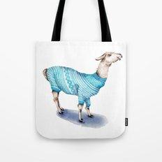 Llama in a Blue Sweater Tote Bag
