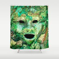 pagan Shower Curtains featuring MASKED by Catspaws