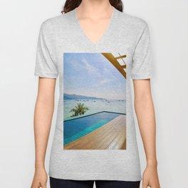 Infinity pool over Phi Phi bay Unisex V-Neck