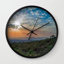 Colorful sunrise on Italian Apennine Mountains Wall Clock