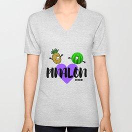 Pineapple melon fruit vegan healthy funny gift Unisex V-Neck