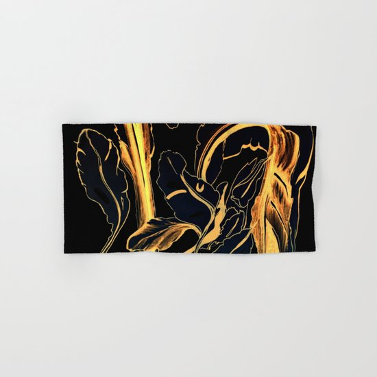 Plant in Blue Marker - Leaf of Life Miracle Leaf - Black and Gold Hand & Bath Towel
