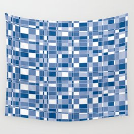 Mod Gingham - Blue Wall Tapestry