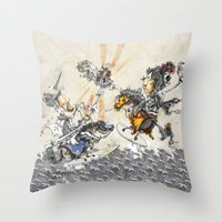 knight Throw Pillows featuring Knight by JoeyDrawing