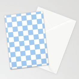 Checkered - White and Baby Blue Stationery Cards