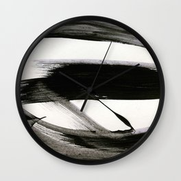 Brushstroke 9: a bold, minimal, black and white abstract piece Wall Clock