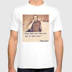 Charles Bukowski Quotes White LARGE Mens Fitted Tee