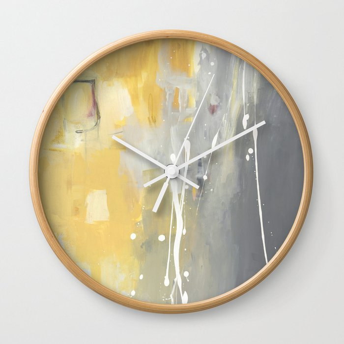 50 Shades of Grey and Yellow Wall Clock by julieahmad | Society6