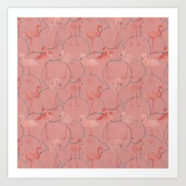 Walk with pink flamingos on coral pink Art Print