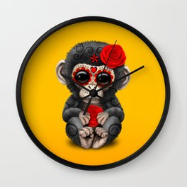 Red and Yellow Day of the Dead Sugar Skull Baby Chimp Wall Clock