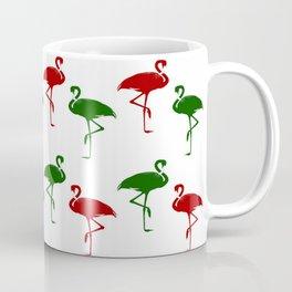 Flamingos Christmas Pattern Red Green Coffee Mug