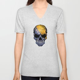 Dark Skull with Flag of Bosnia and Herzegovina Unisex V-Neck