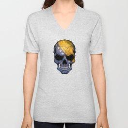 Dark Skull with Flag of Bosnia and Herzegovina Unisex V-Neck
