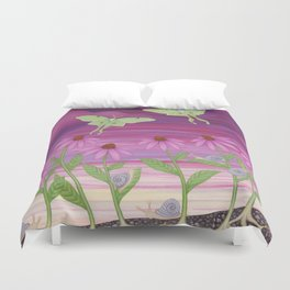 echinacea daydream with luna moths and snails Duvet Cover