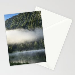 Misty Cloud over Lake. Amazing shot of a wooden house in the Ferchensee lake in Bavaria, Germany, in front of a mountain belonging to the Alps. Stationery Cards
