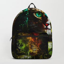 cat turquoise eyes splatter watercolor Backpack