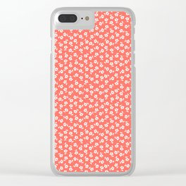 Forget Me Nots - White on Living Coral Clear iPhone Case