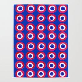 Donut Evil Eye Amulet Talisman - red on blue doughnut Poster