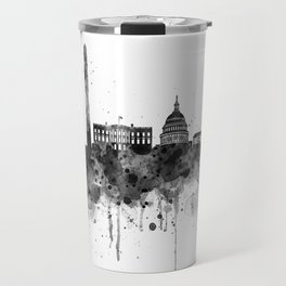 Washington DC Skyline Black and White Travel Mug