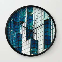 Blue glass architectural abstract Wall Clock