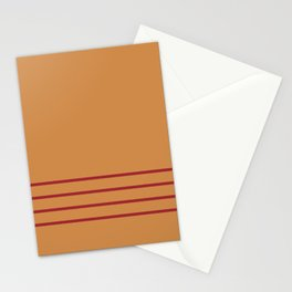 Dark Orange & Red Thin 4 Stripe Pattern 2021 Color of the Year Satin Paprika and Warm Caramel Stationery Cards