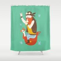 heavy metal Shower Curtains featuring Happy Heavy Metal by godigo