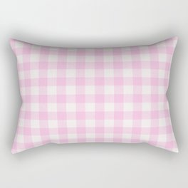 Blush pink white gingham 80s classic picnic pattern Rectangular Pillow