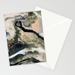 Grey tan and gold abstract art.  Stationery Cards