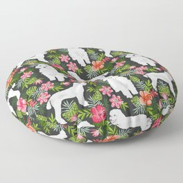 White Poodle floral hawaiian tropical dog breed dogs pet friendly pet art pattern Floor Pillow