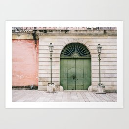 Old wooden green doors in Italy | Wanderlust travel photography art Art Print