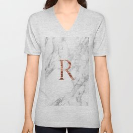 Monogram rose gold marble R Unisex V-Neck